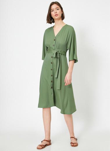 Koton Düğme Detaylı Elbise Yeşil